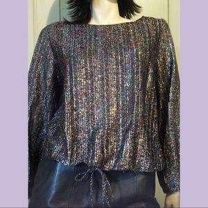 VTG 70s Disco Strobe Metallic Glitter Lurex Top